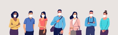People in protective medical face masks. Men and women wearing protection from virus, urban air poll...