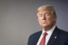 United States President Donald Trump delivers remarks on the COVID-19 (Coronavirus) pandemic alongsi...