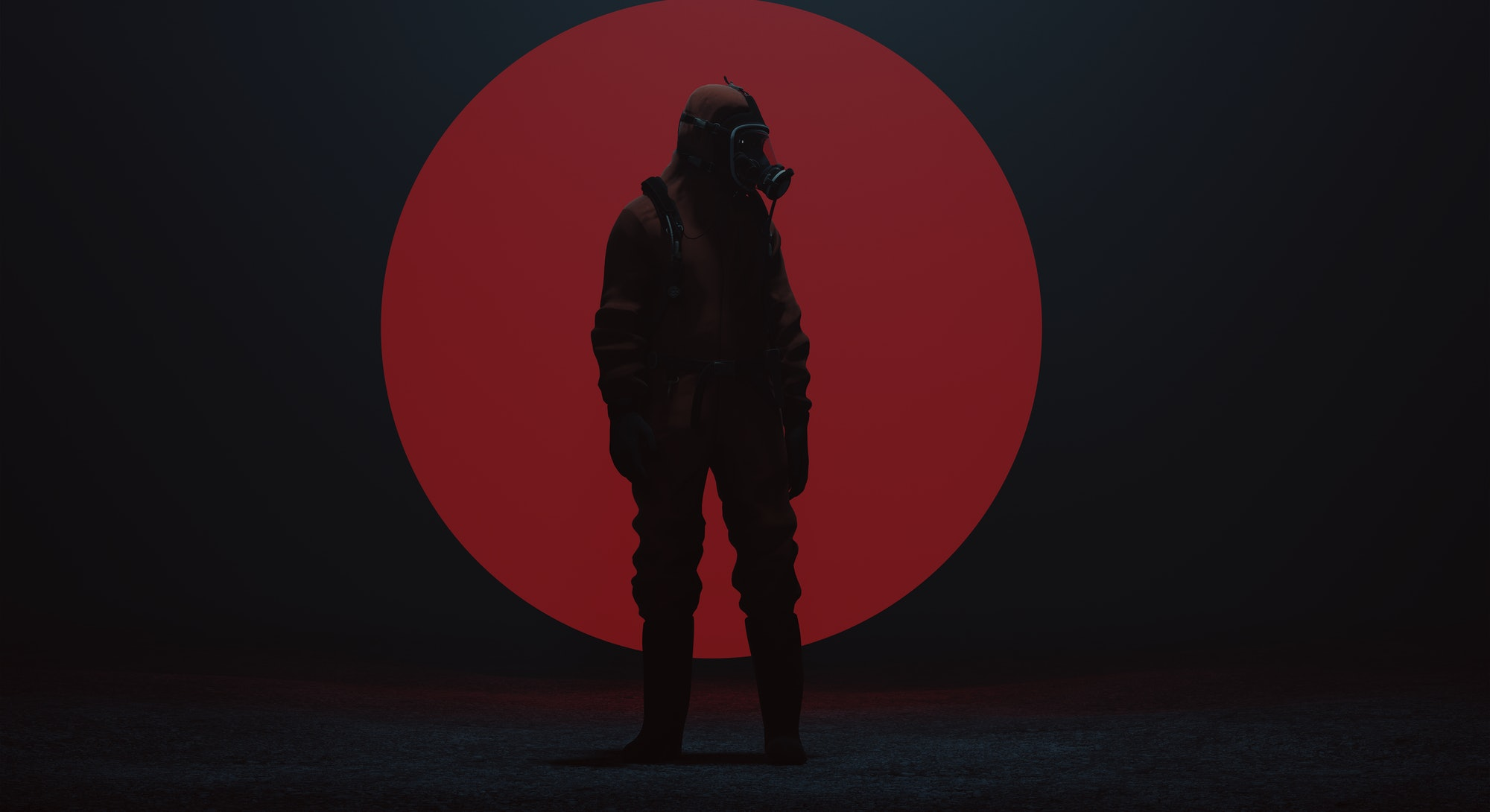 Man in a Hazmat suit with a Big Red Sphere in a foggy void 3d Illustration 3d render