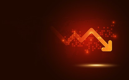 Futuristic red signal trend drop down arrow chart digital transformation abstract technology backgro...