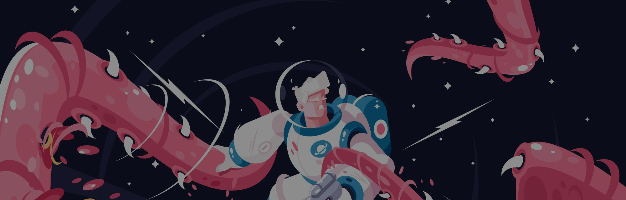 Young astronaut vs dangerous alien tentacles. Astronaut with weapon fighting monster at cosmos vector illustration. Stars and black night on background flat style concept