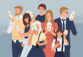 Group of people covering their faces with masks expressing positive emotions. Concept of hiding personality or individuality, psychological problem. Flat cartoon colorful vector illustration.