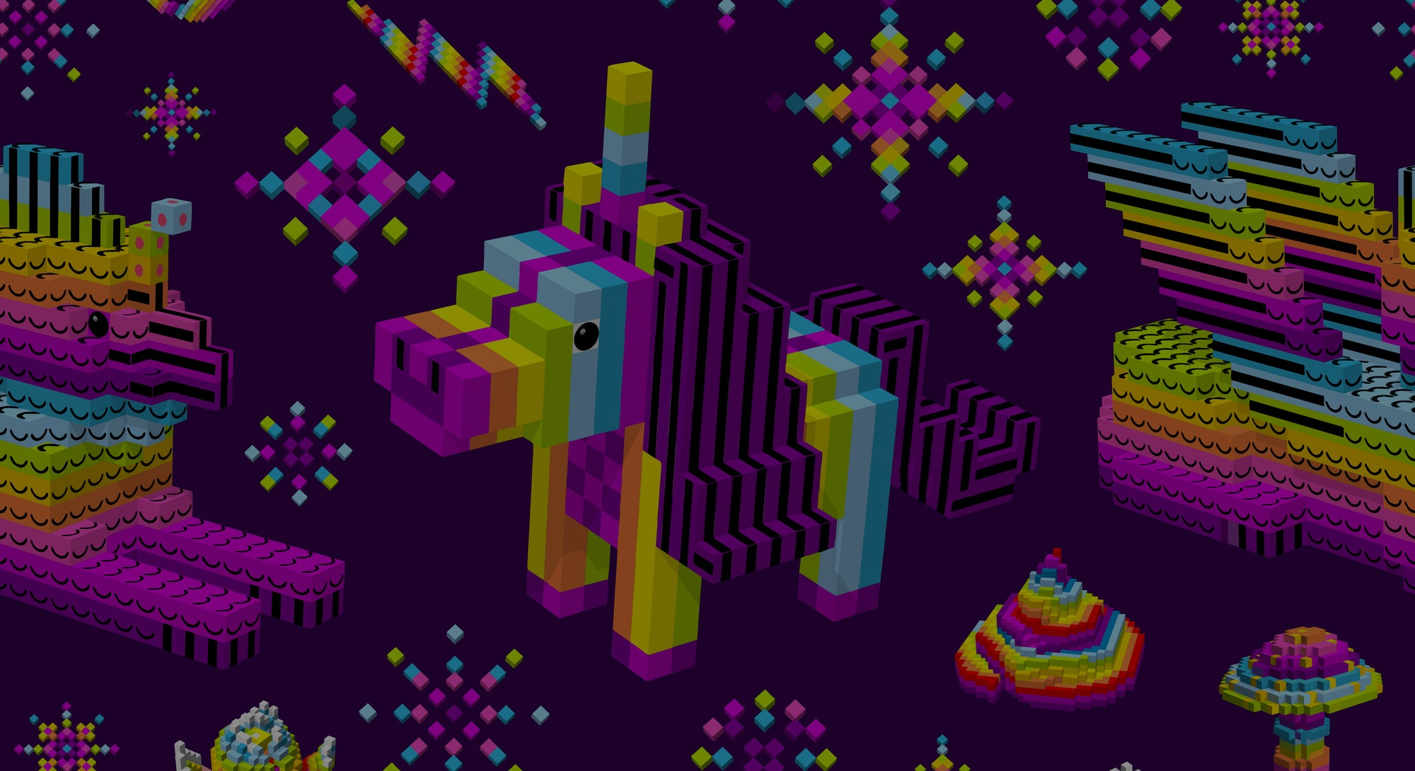 Unicorn shit,space sphinx rainbow,stars,Saturn.Computer characters,3D,cubes,pixel art,game style,digital,purple seamless pattern for wallpaper,textiles.Vector