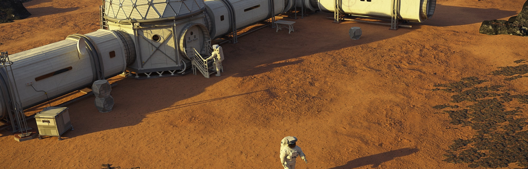 Mars base with astronauts, station on the surface of the red planet (3d science rendering)