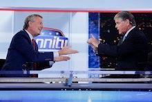 Sean Hannity, Bill de Blasio. Fox News host Sean Hannity, right, interviews Democratic presidential ...