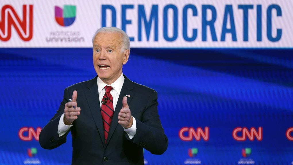 Former Vice President Joe Biden, participates in a Democratic presidential primary debate with Sen. Bernie Sanders, I-Vt., not seen, at CNN Studios in Washington. This may be the best of times politically for Biden, who won three massive endorsements over the last week, none bigger than former rival Bernie Sanders