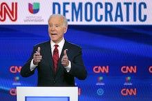 Former Vice President Joe Biden, participates in a Democratic presidential primary debate with Sen. ...