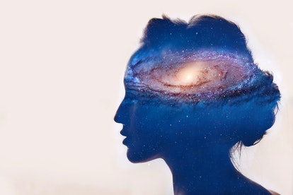 Girl with galaxy in head