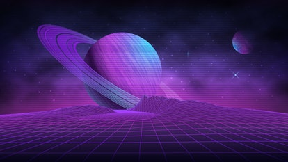 Futuristic retro landscape of the 80's. Vector futuristic illustration of planets with mountains in retro style. Digital retro-cyber-surface. Suitable for design in the 1980s.