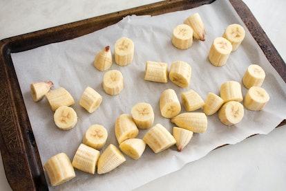 Frozen Pieces of Banana on a Sheet Pan