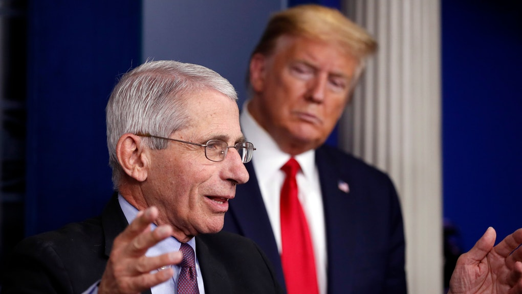 """President Donald Trump watches as Dr. Anthony Fauci, director of the National Institute of Allergy and Infectious Diseases, speaks about the coronavirus in the James Brady Press Briefing Room of the White House in Washington. After weeks of near-daily plugs for the use of hydroxychloroquine to help treat COVID-19 patients, Trump and the White House abruptly stopped discussing the drug a week ago. His promotion of the drug, based on isolated reports and instinct, frequently put him at odds with medical professionals, including Fauci, the nation's top infectious disease expert, who said evidence for the efficacy of the drug for COVID-19 patients was """"anecdotal"""