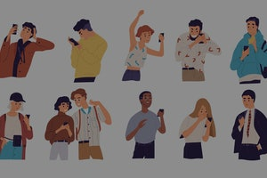 People with smartphones flat vector illustrations set. Different emotions, reaction to information c...