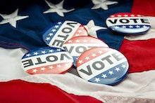 Democrat vs republican poll, democratic decision and primary voting conceptual idea with Vote electi...