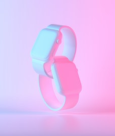 White Smart Watch 4 with colorful ultraviolet holographic neon lights. Creative concept. 3d render