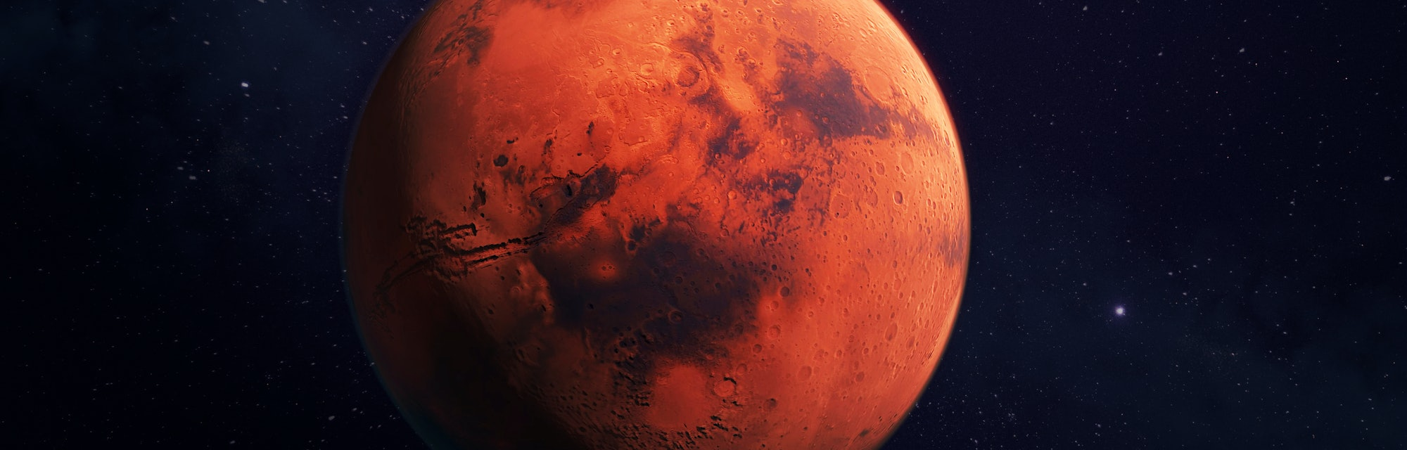 Mars, the red planet, 3d rendering with detailed surface features, with atmosphere, and dark backgro...