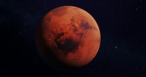 Mars, the red planet, 3d rendering with detailed surface features, with atmosphere, and dark background, high resolution, high saturation