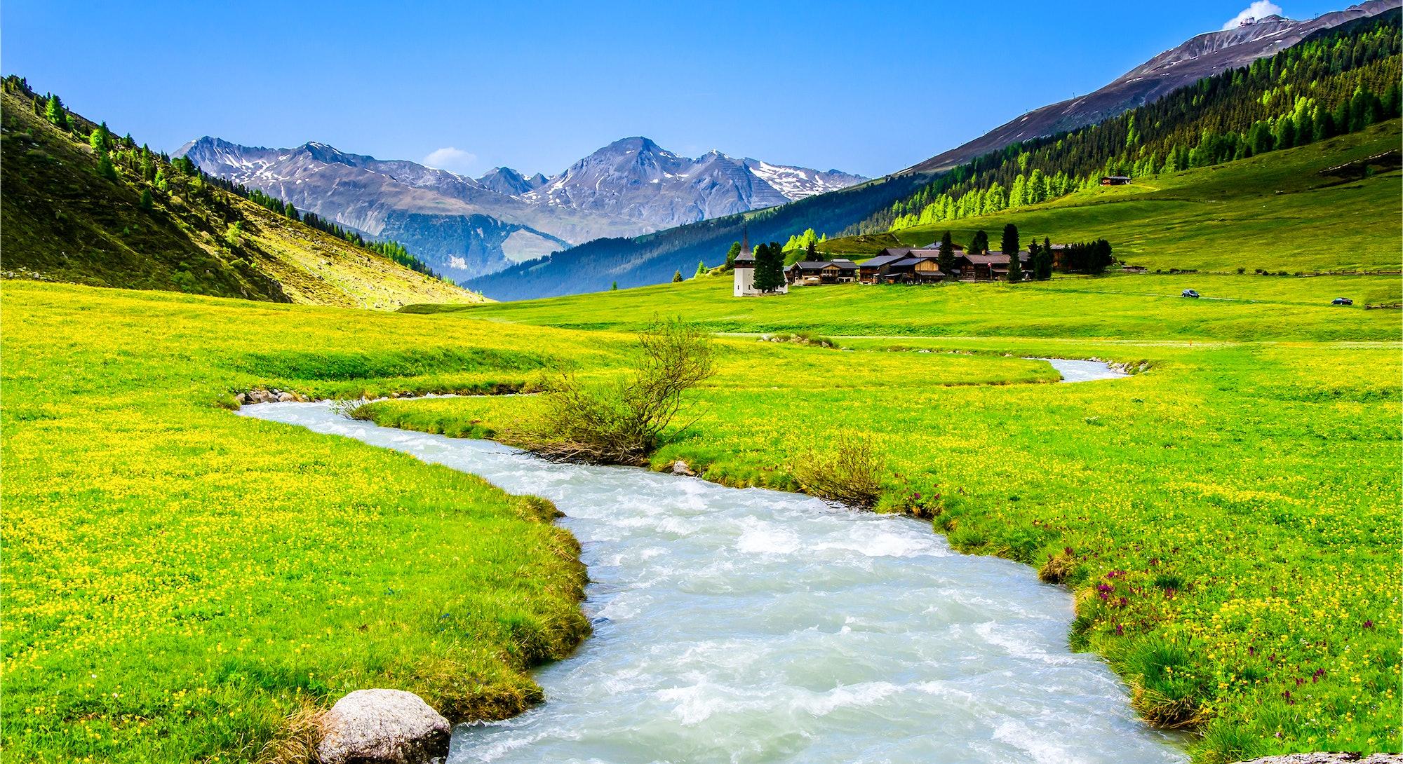 Mountain green valley river creek landscape. River creek in mountain valley. Mountain valley creek. Mountain valley landscape