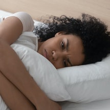 stressed pregnant woman sleeping