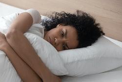 stressed pregnant woman sleeping