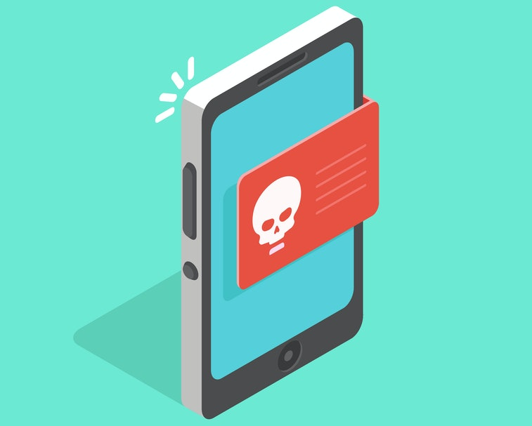 Infected mobile operating system. Malware notification on smartphone vector, concept of spam data, fraud internet error message, insecure connection, online scam, virus. Isometric flat vector picture