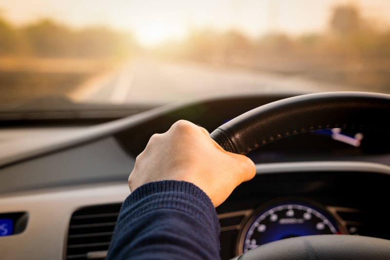 Safe drive, speed control and security distance on the road, driving safely