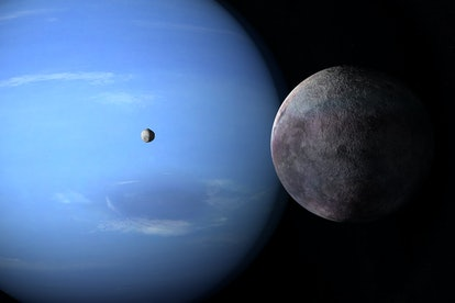 Satellites Proteus and Triton orbiting around Neptune planet. 3d rendering