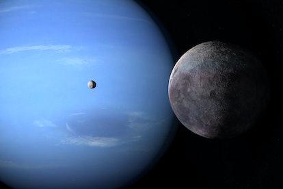 Satellites Proteus and Triton orbiting around Neptune planet. 3d rendering