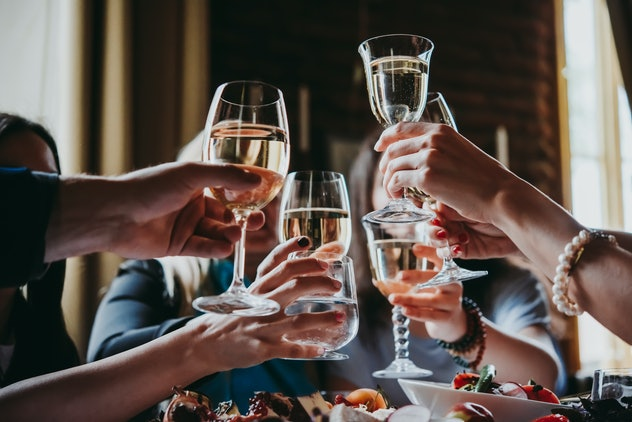cheers with white wine
