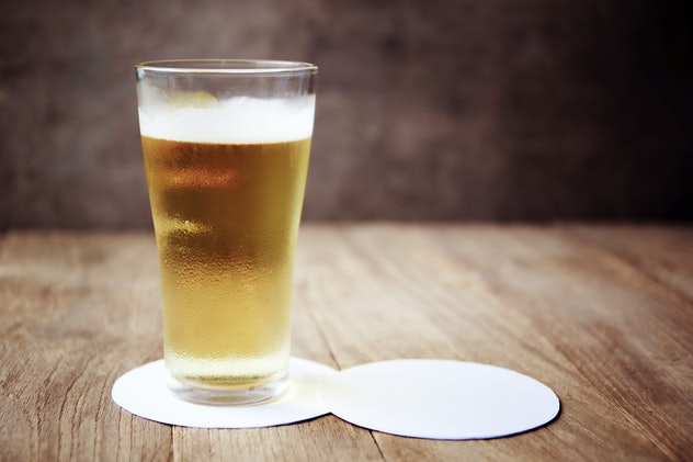 light beer on a white coaster
