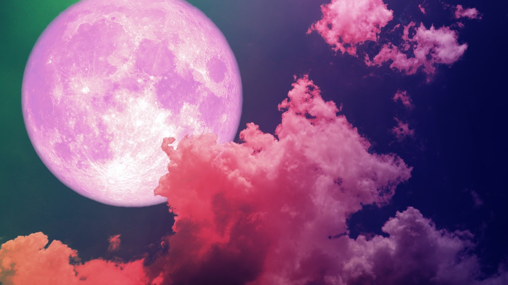 super full pink moon back silhouette colorful magenta sky, Elements of this image furnished by NASA
