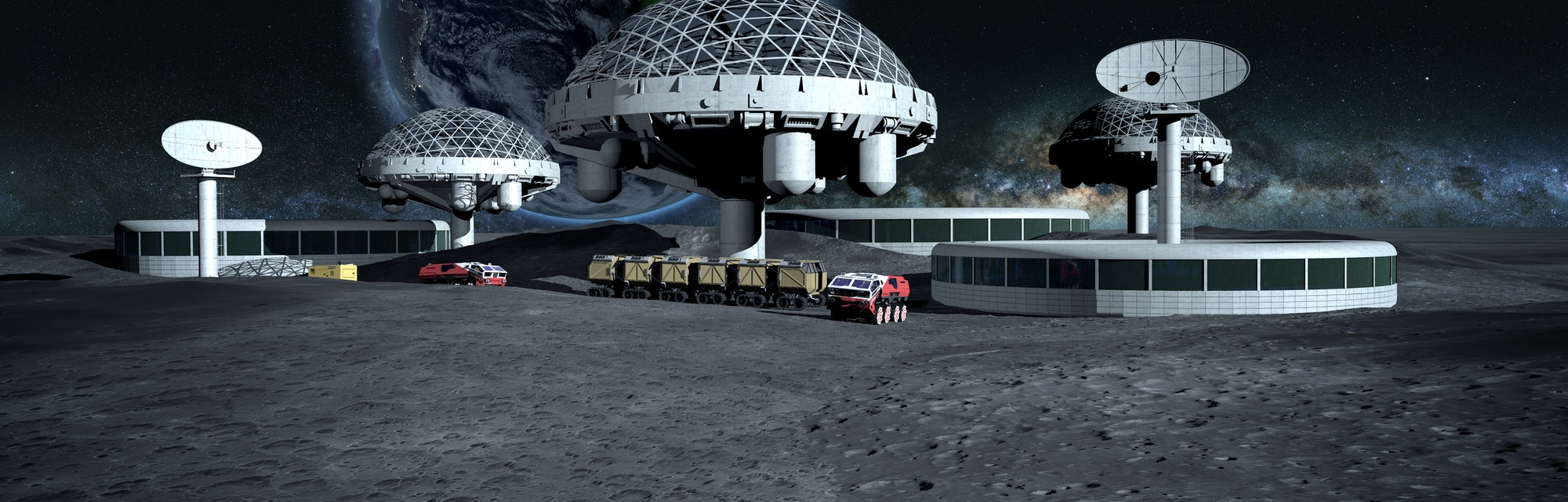 futuristic city, base, town on moon. The space view of the planet earth. expedition. 3d rendering. Elements of this image furnished by NASA