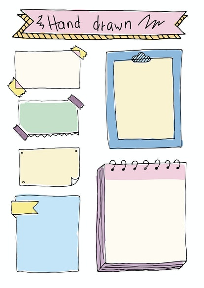 Add fun drawn office supplies like paper clips and pushpins to your bullet journal.
