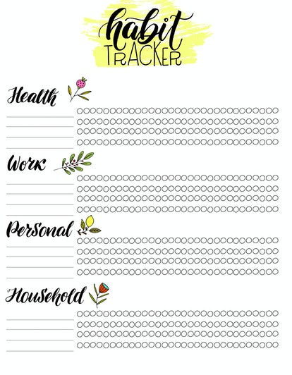Monthly habit tracker blank with hand written cute lettering. Bullet journal template. Vector illustration. Isolated.