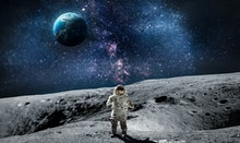 Moon surface with astronaut on it. Planet Earth on the background. Apollo space program. Elements of...