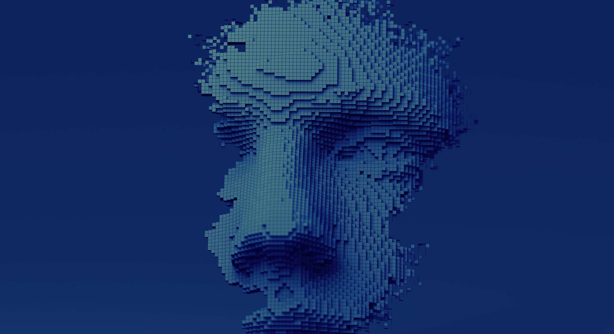 Abstract human face, 3d illustration, head constructed of cubes, artificial intelligence concept