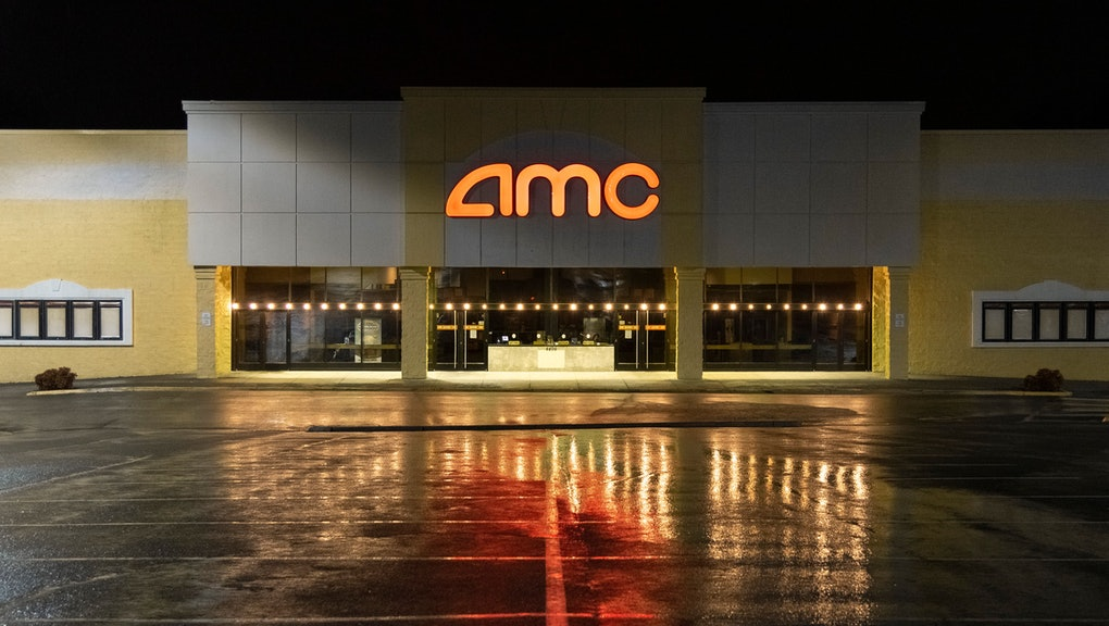 An AMC movie theater parking lot is vacant during the COVID-19 outbreak, Roanoke, Virginia.