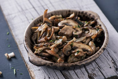 Reheating sauteed mushrooms in the microwave oven may be harmful or dangerous.