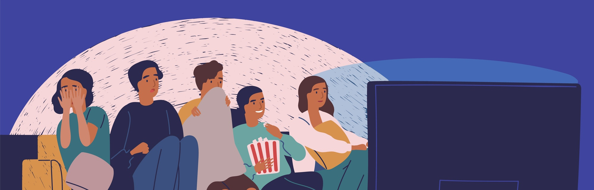 Group of friends sitting on sofa or couch in darkness and watching scary movie. Young girls and boys with scared faces look at TV screen. Colorful vector illustration.