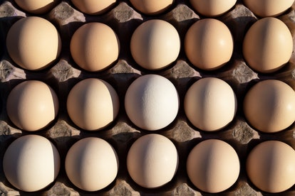 Flat lay Close-up view of raw chicken eggs in egg paper box.Overhead view of brown chicken eggs in a...