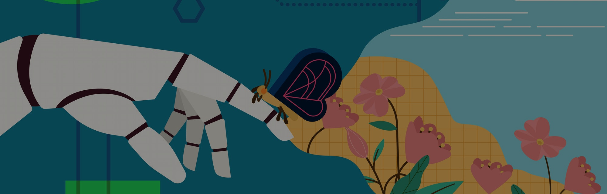 The robotic hand look as like human hand touching the butterfly with natural background, When high Technology meet natural concept, futurism concept, vector illustration in flat style