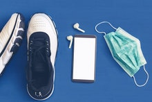 Jogging and healthy life concept during Coronavirus pandemic quarantine – safety measures for runner...