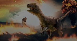 3d rendering of dinosaur and asteroids during extinction day