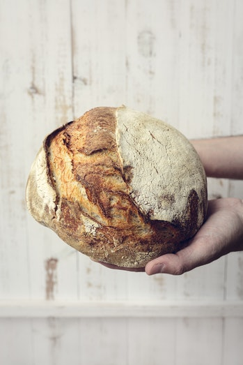 Baked bread of sourdough in hands - The bread of sourdough, homemade and natural creation. The sourd...