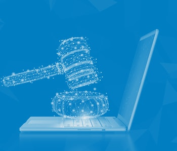 Internet law concept with 3d rendering computer notebook display gavel judge
