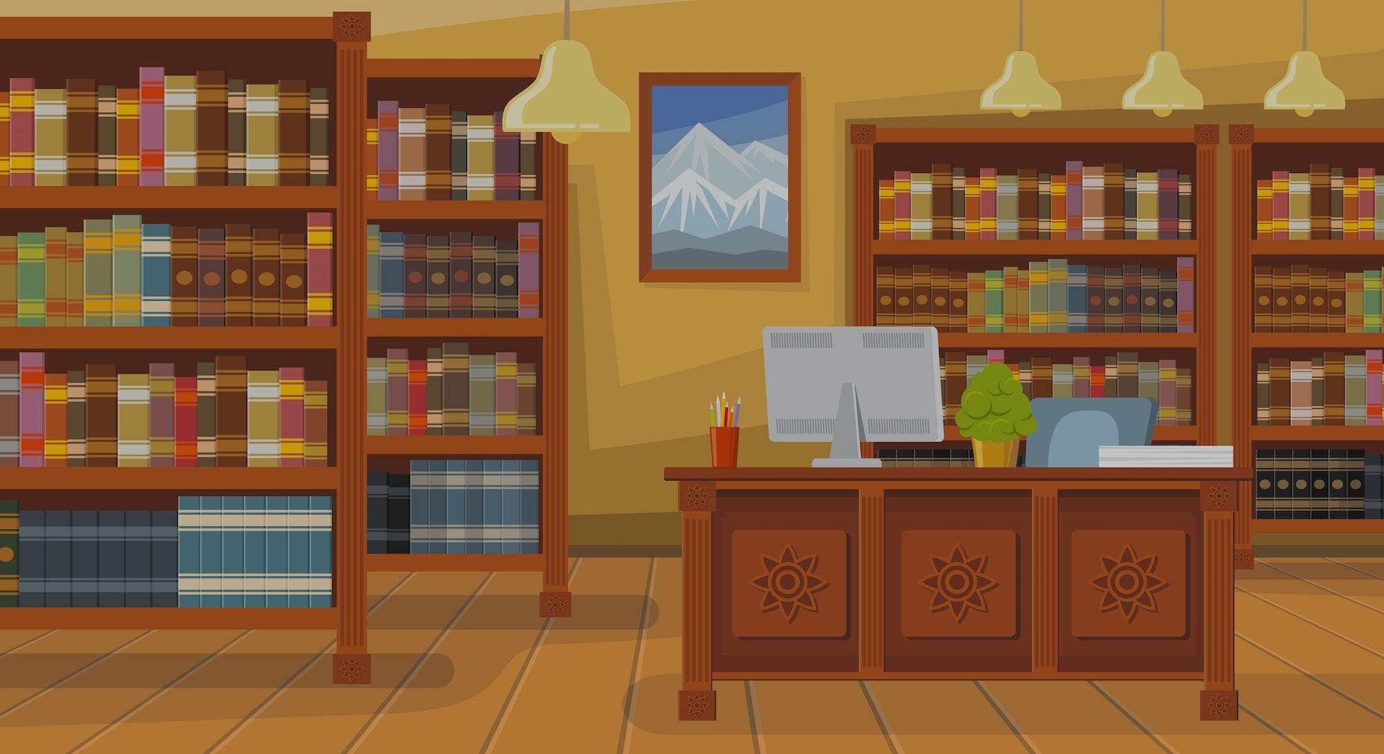 Modern library with bookshelf vector illustration. Librarians desk with desktop computer. Interior i...