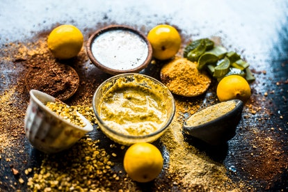 Ayurvedic face pack or ubtan of moong dal or green lentil or mung dal with lemon,dried orange peel p...