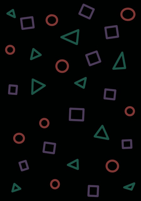 Game playstation seamless pattern with multi-color geometric shapes contours on dark background. Fashion of the 80s-90s. Retro vintage abstract art print. Wallpaper,cloth design,fabric,paper,textile