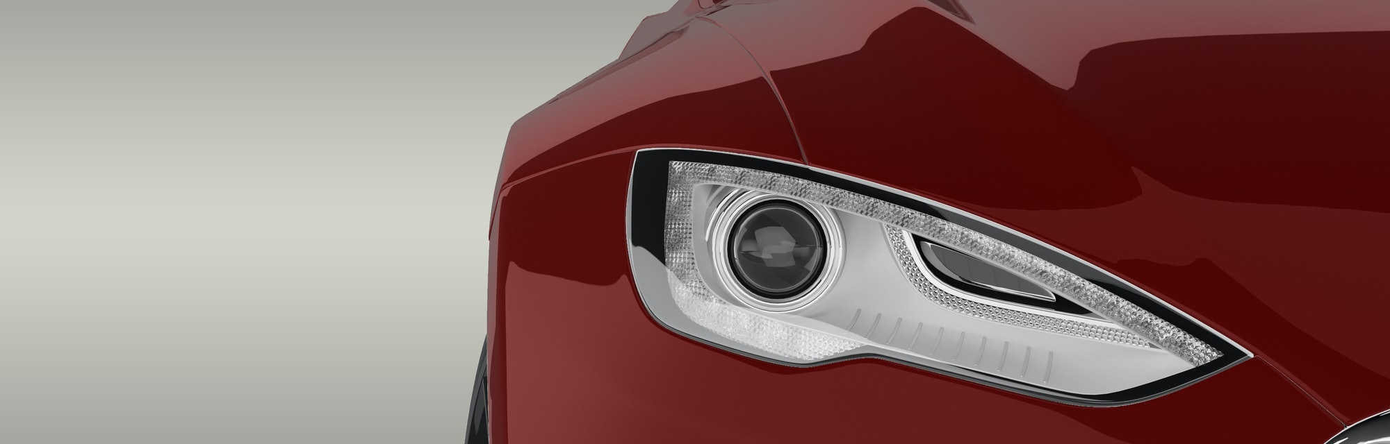 Electric Car Close-up 3D Rendering