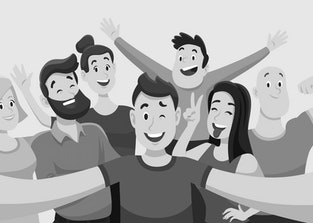 People group selfie. Friendly guy makes group photo with smiling friends on smartphone camera in hands, taking self portrait photos. Telephone photography vector cartoon illustration