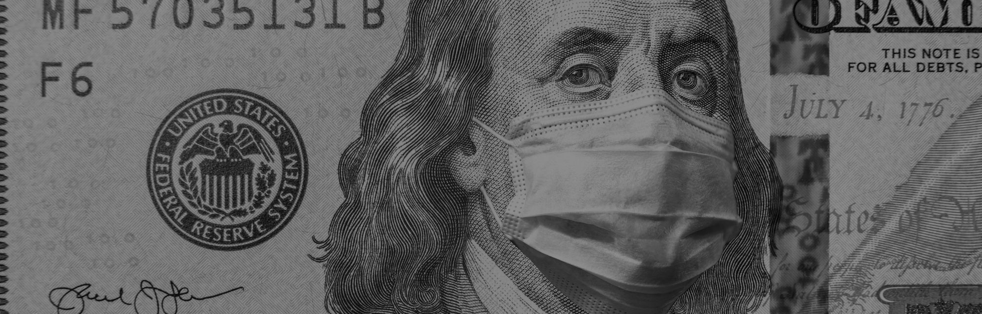 COVID-19 coronavirus in USA, 100 dollar money bill with face mask. Coronavirus affects global stock market. World economy hit by corona virus outbreak and pandemic fears. Crisis and finance concept.